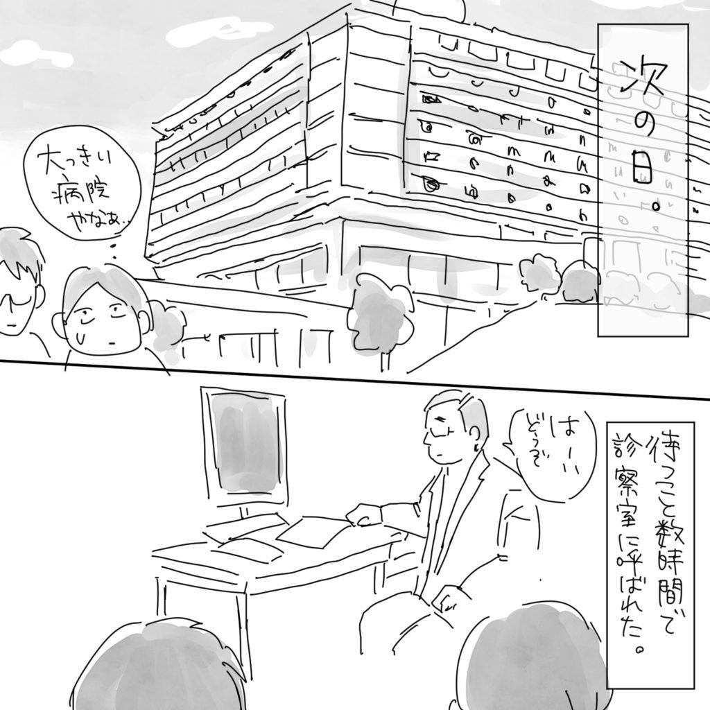 次の日。「おっきい病院やなぁ…」待つこと数時間で診察室に呼ばれた。「はーいどうぞ」