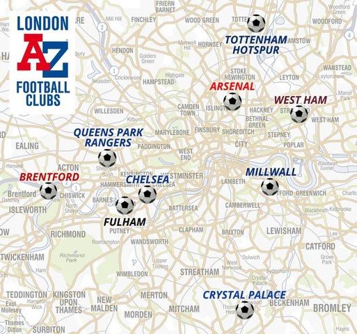 ロンドンサッカースタジアムの地図