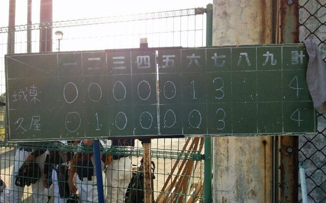 松江城東グリーンソックス対久屋スポーツ少年団、試合結果スコア