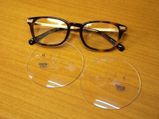 ウェリントン眼鏡+ブルーカットコートに遠近両用 加工開始