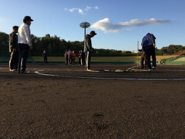 第15回学童野球新人大会「松江遊技業防犯協力会杯」準決勝の設営