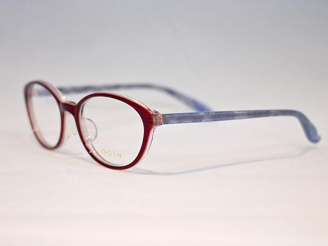 鮮やか赤と薄ラベンダーのツートンカラーで個性的メガネ
