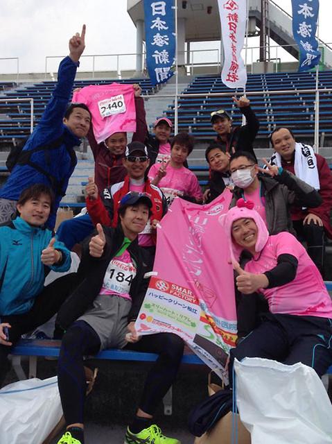 鳥取マラソン2014年コカコーラ陸上競技場、山陰ランクラブ集合写真