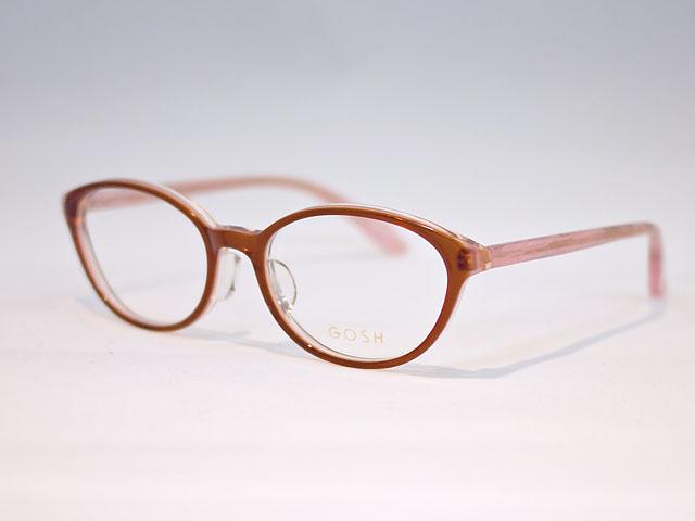 レディース眼鏡明るいブラウンと薄ピンクのテンプル組み合わせ