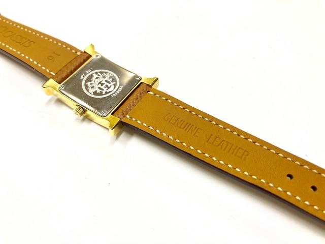 エルメスHウォッチ腕時計ベルト交換後の裏
