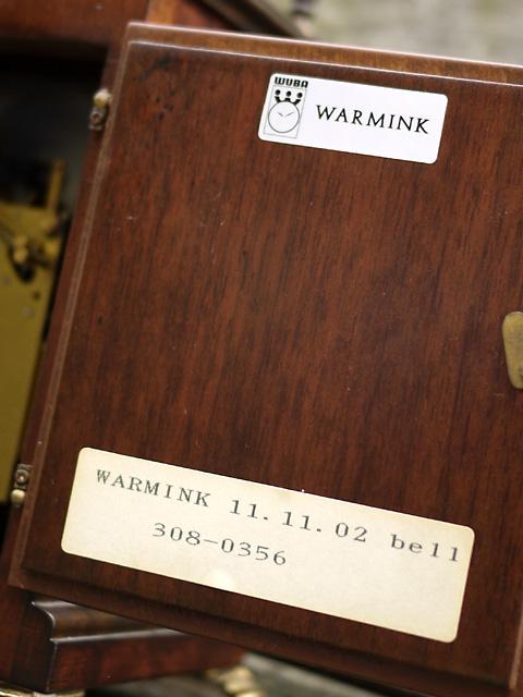 WUBA (Warmink)オランダ ワルミンク社製置き時計4日巻、品番