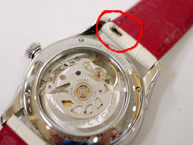 腕時計ベルトにレバー付きバネ棒