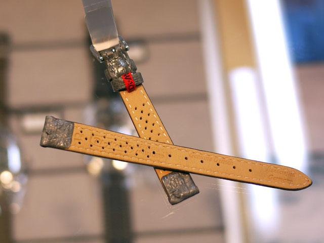 ドイツ製腕時計用革ベルト・ストラップ・裏メッシュ通気性加工グレー