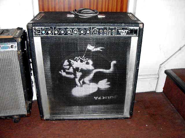guitar amp sprayed by BANKSY