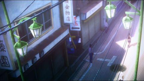 上からの背景なので角度は合わせられないのですが・・・ 高円寺の純情商店街の中の風景です。