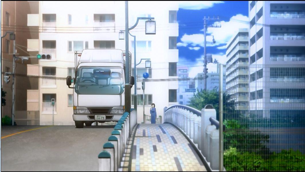ちなみに逆視点、式進行方向への背景もトラックが爆発する寸前で一瞬写ります。
