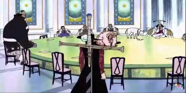 ワンピースの七武海ドンキホーテ・ドフラミンゴさん、テーブルに座るwww