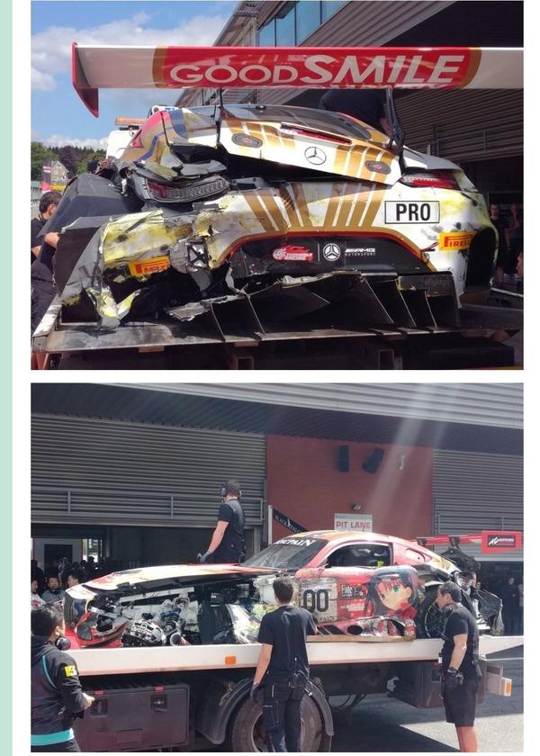 【画像】fate遠坂凛のレーシングカー、大破してしまう