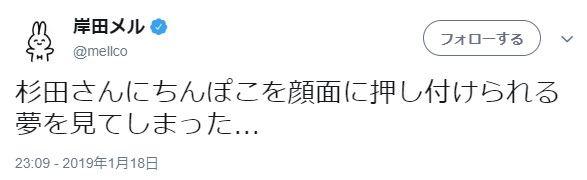 岸田メルさん、ツイッターでヤバイ発言をしてしまうwww