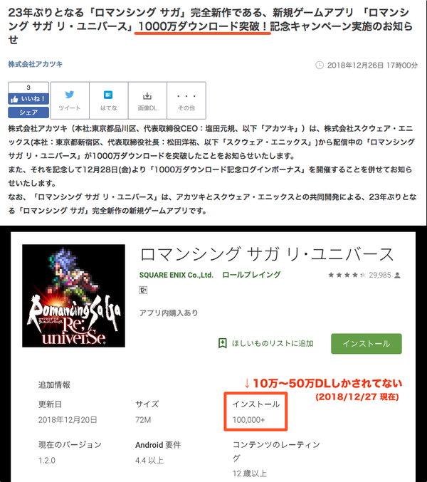 【悲報】ソシャゲ公式のダウンロード数発表、リセマラだらけ詐欺