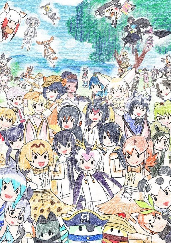 けものフレンズ2公式がアニメ最終回を記念して全員集合イラストを公開する