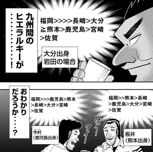 【画像】 1日外出録ハンチョウで九州地方のヒエラルキー回 佐賀と宮崎のドベ争いはガチなのか?