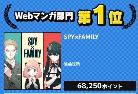 ジャンプ+漫画『SPY×FAMILY(スパイファミリー)』が次にくるマンガ大賞 2019web部門で1位を獲得 まだ1巻が出たばかりなのに注目度高いな
