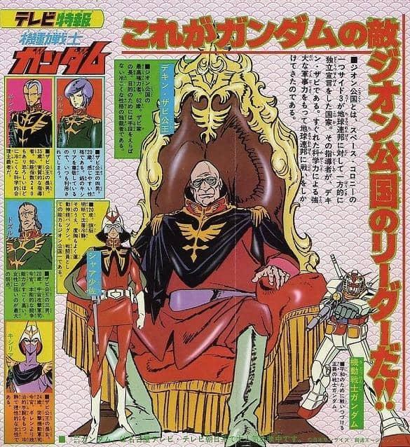 【画像】昔のガンダムピンナップに乗っているジオン公国のイラストが完全に悪の帝国www