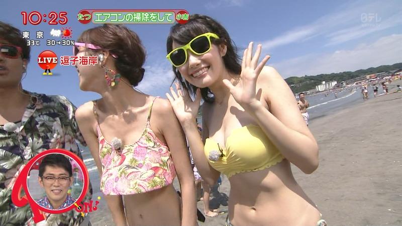 お天気お姉さんの窪真理と原田ゆかの水着キャプ画像