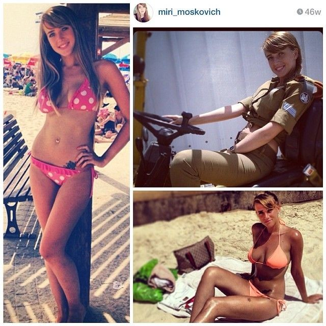 イスラエルの女兵士の軍服と水着姿のギャップがエロい画像