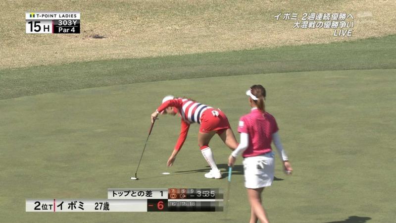 女子ゴルファーイ・ボミのパンツが見えそう