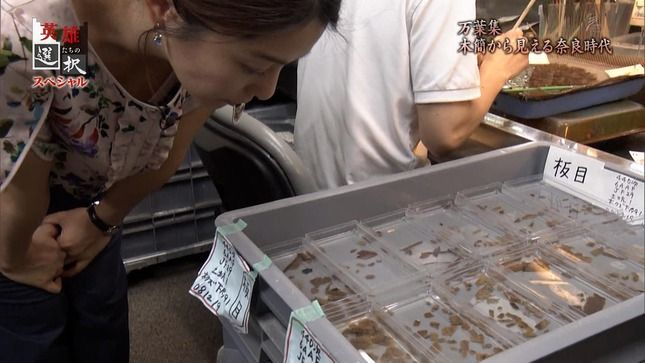 杉浦友紀アナが前かがみでパックリと胸チラ!!【巨乳】
