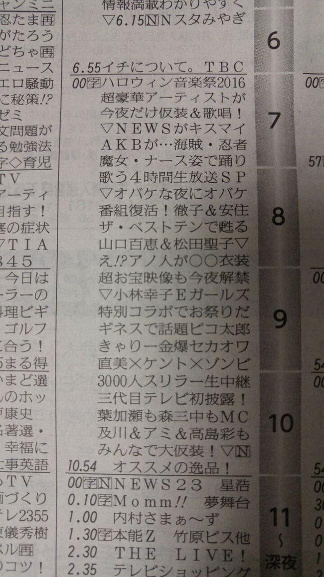 【本日19時~】「TBSハロウィン音楽祭2016」の出演時間帯が発表【AKB48/SKE48/NMB48/HKT48/乃木坂46/欅坂46/山本彩】