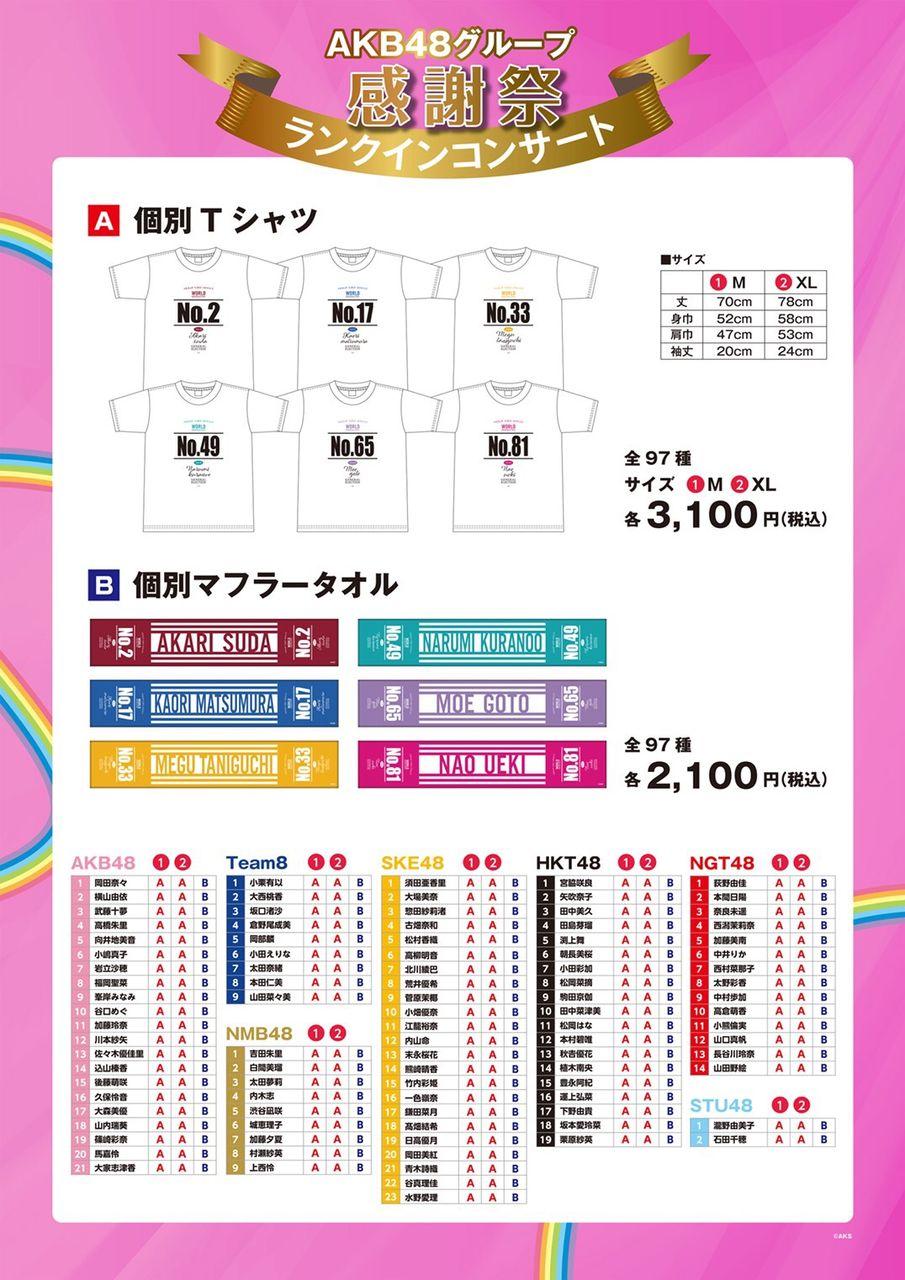 「AKB48グループ感謝祭~ランクインコンサート~」グッズ・生写真販売のお知らせ