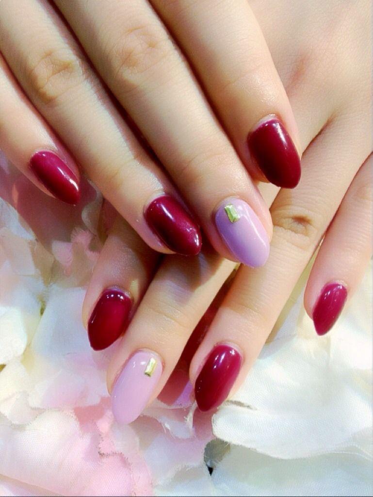 ネイルサロン Annie \u0026 Gino (香川県高松市)  ボルドー×ピンク