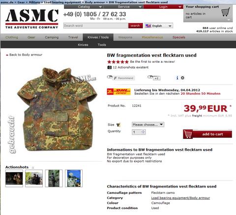 BW fragmentation vest flecktarn used