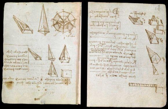 レオナルド・ダ・ヴィンチが数学・物理学の研究などを記した「フォースター手稿」のスキャンデーターがオンライン公開中