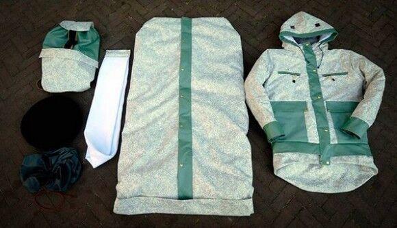寒い冬を野外で過ごすホームレスの人々のために。寝袋と衣服が一体になった「シェルタースーツ」