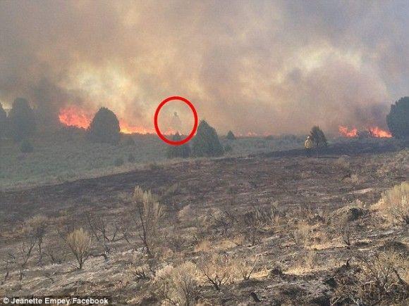 大規模火災の煙の中から姿を現した巨大な霊(アメリカ)