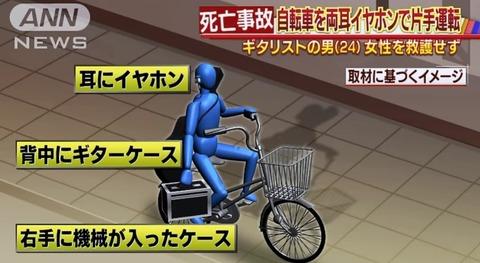 【悲報】両耳イヤホンで自転車片手運転した男