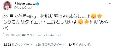 大橋彩香ダイエット大成功