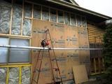 耐力面材と断熱材改修の外壁面