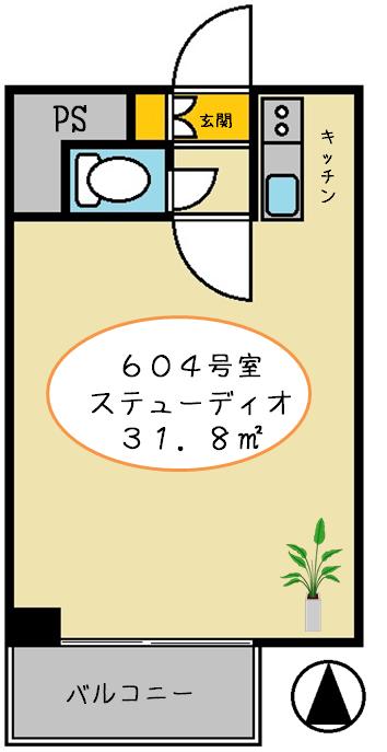00間取りアゼリア青新ビル604