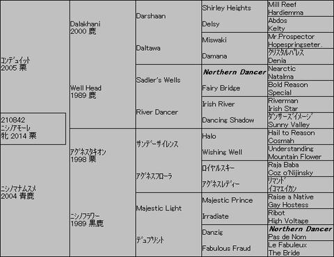ニシノアモーレ5代血統表