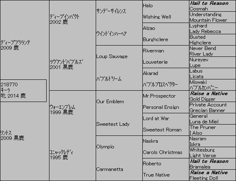 キーラ5代血統表