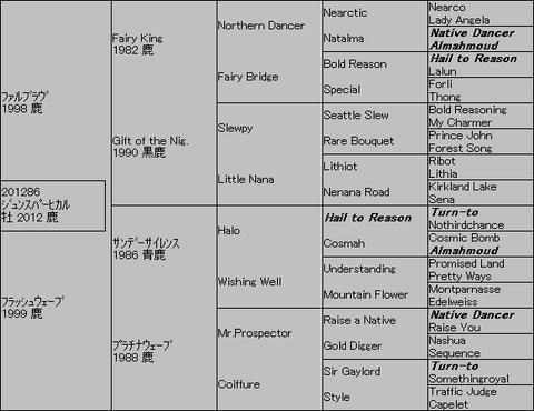 ジュンスパーヒカル5代血統表