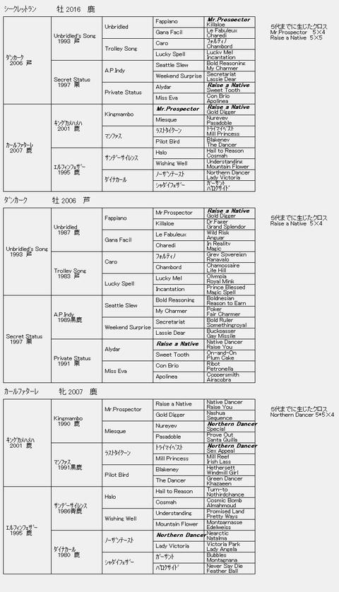 シークレットラン6代血統表