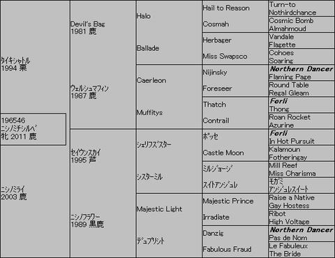 ニシノミチシルベ5代血統表