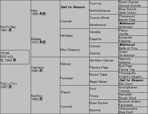 タイキシャトル5代血統表