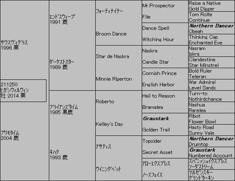 ヒガシウィルウィン5代血統表