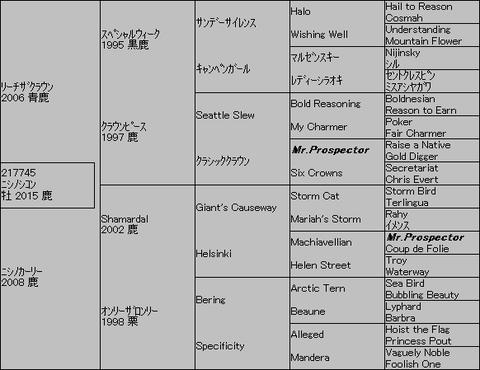 ニシノシコン5代血統表