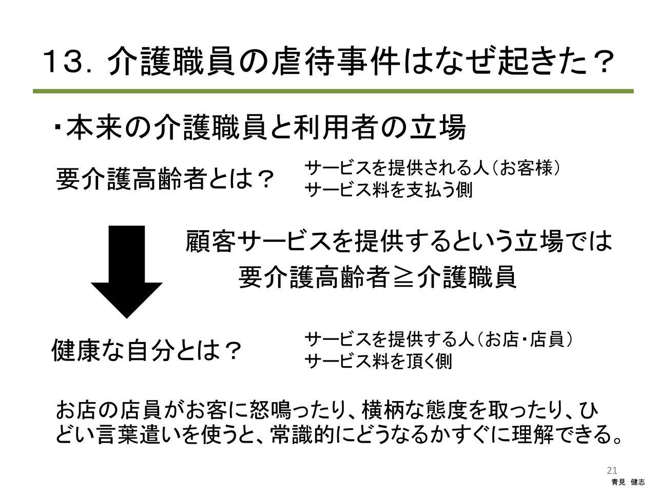医療経営・管理学修士(専門職)青見健志  介護職員・施設の倫理研修コメント                aomikenji