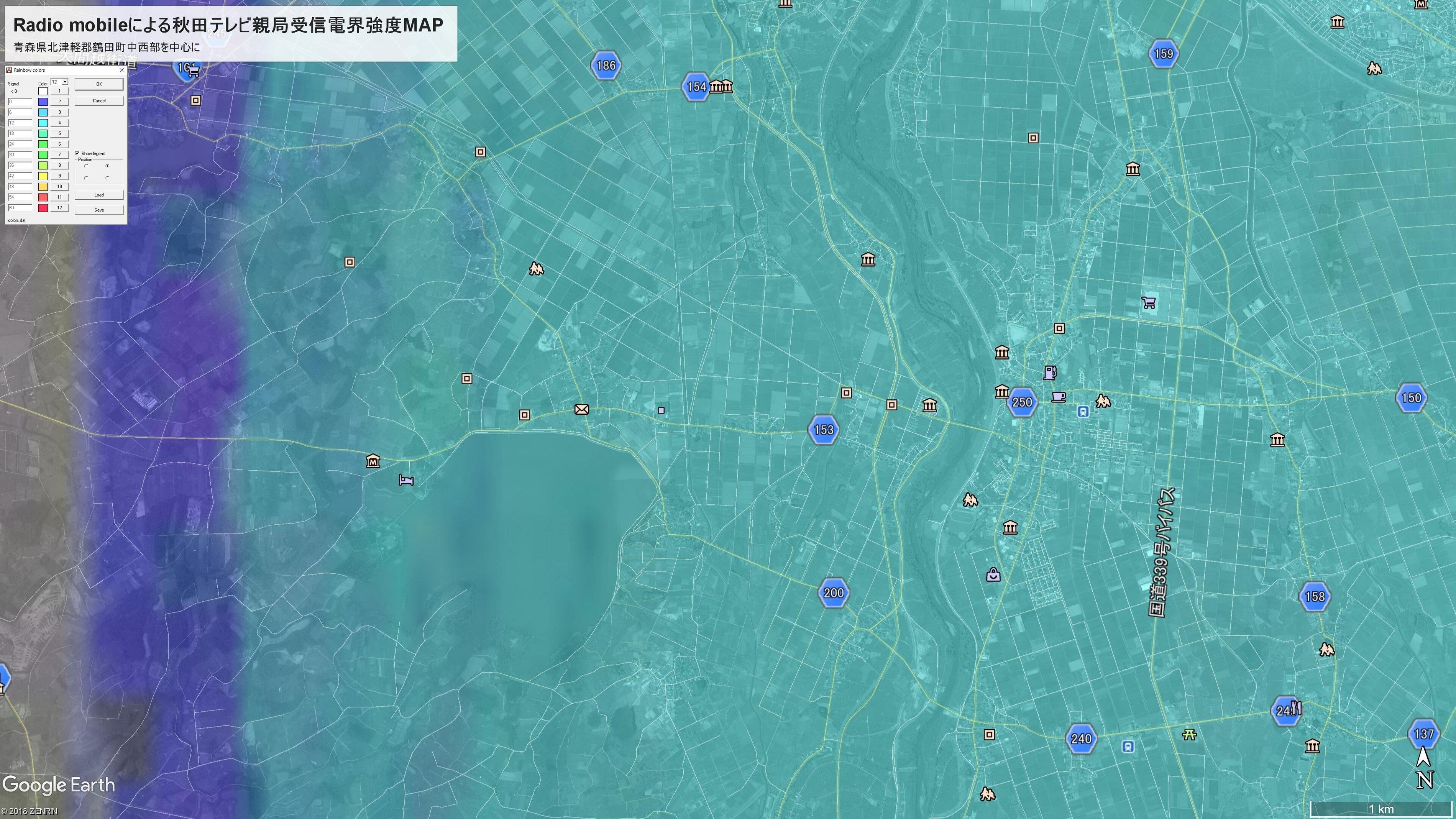 Radio mobileによる秋田テレビ親局受信電界強度MAP