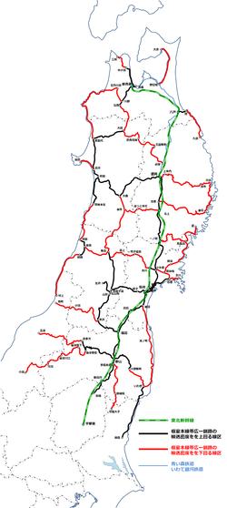 東北6県のJR東日本線 根室線帯広ー釧路を下回る線区図