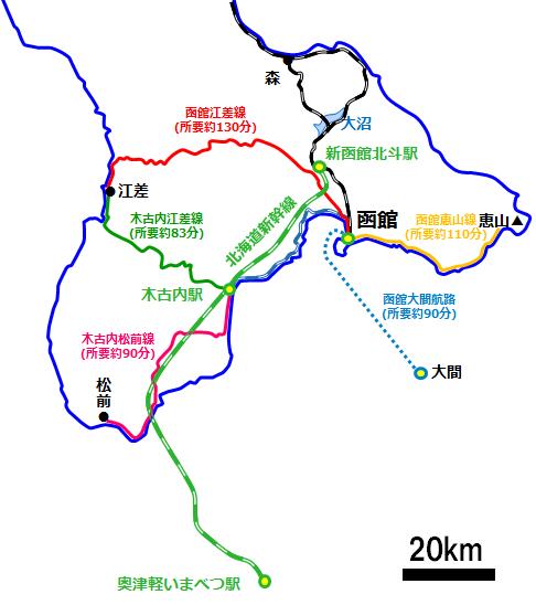 函館周辺の図